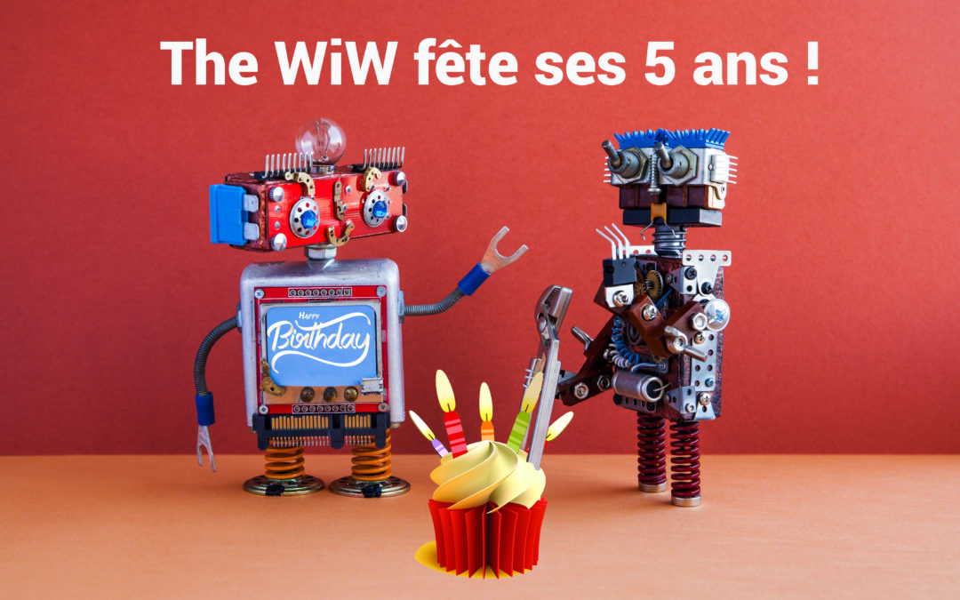 Deux robots célébrant les 5 ans de The WiW